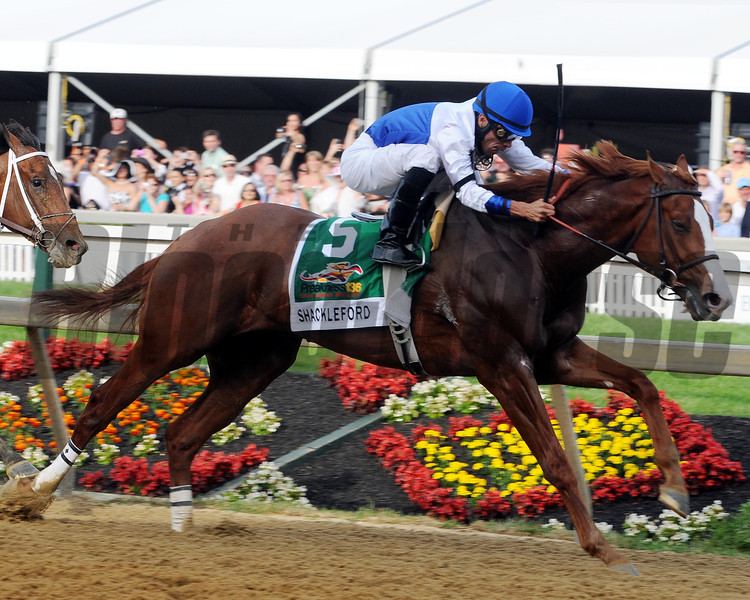 Caption: shackleford at 16th pole<br /> Preakness on May 21, 2011, at PImlico in Baltimore, Maryland<br /> Photo by: Dave Harmon