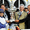 Jockey Jesus Lopez Castanon, left is joined by trainer Dale Romans, second from left, MIchael Lauffer and W. D. Cubbedge in the winner's circle after winning the 136 running of The Preakness at Pimlico Race Course May 21, 2011.     <br /> Photo by: Skip Dickstein