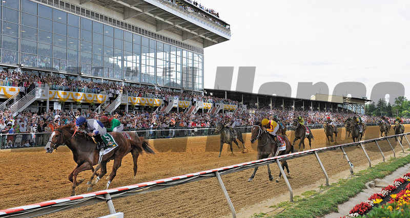 Shackleford with jockey Jesus Lopez Castanon heads the field to the wire in the 136 running of The Preakness at Pimlico Race Course May 21, 2011.     <br /> Photo by: Skip Dickstein