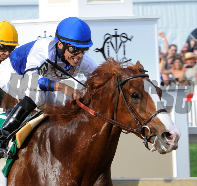 Jockey Jesus Lopez Castanon is all smiles on Shackleford as he wins the 136 running of The Preakness at Pimlico Race Course May 21, 2011.  <br /> Photo by: Skip Dickstein