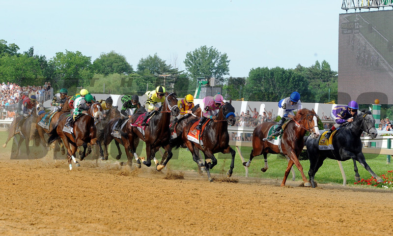 Caption: first time around shackleford and flashpoint on the front end<br /> Preakness on May 21, 2011, at PImlico in Baltimore, Maryland<br /> Photo by: Dave Harmon