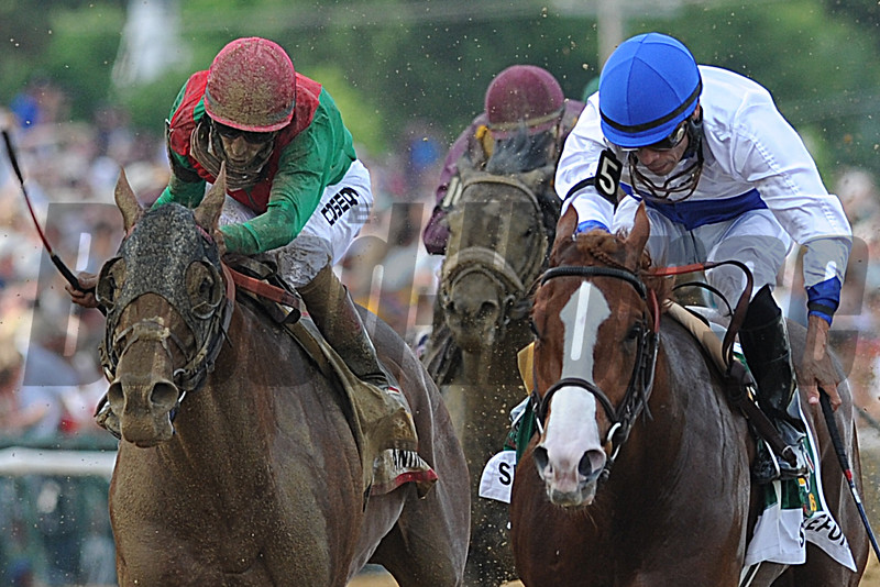 Shackleford, Jesus Castellon up wins the Preakness Stakes, Animal Kingdom and John Velazquez up finsih second Pimlico Race Track, Baltimore, MD 5/20/11, photo by Mathea Kelley