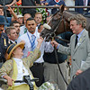 Union Rags gets a tap on the nose from owner Phyllis Wyeth after winning the 144th running of The Belmont Stakes at Belmont Park in Elmont, N.Y. June 9, 2012.<br /> Photo by Skip Dickstein