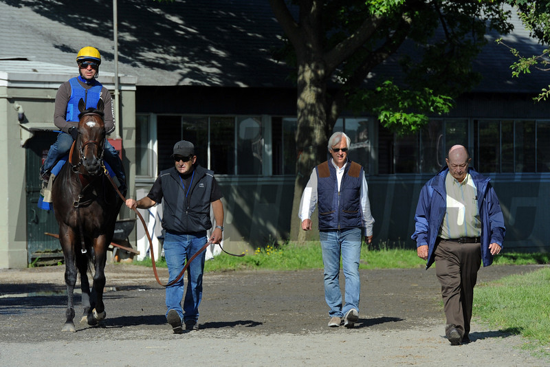 Paynter, being led to the track Thursday morning by asst. trainer Jim Barnes and trainer Bob Baffert...<br /> © 2012 Rick Samuels/The Blood-Horse
