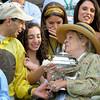 Caption: John Velazquez and Phyllis Wyeth share the moment.<br /> Belmont Park, June 9, 2012, Elmont, N.Y.<br /> Photo by Anne M. Eberhardt
