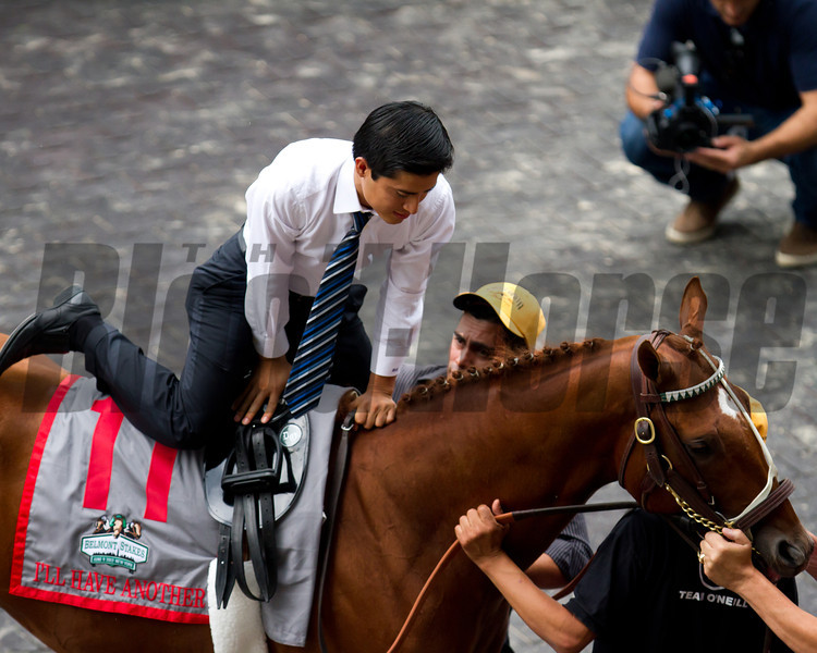 Mario Gutierrez gets a leg up on I'll Have Another one last time at the horse's retirement before the Belmont Stakes.  Belmont Park, 6/9/12.<br /> Photo by Steve Heuertz