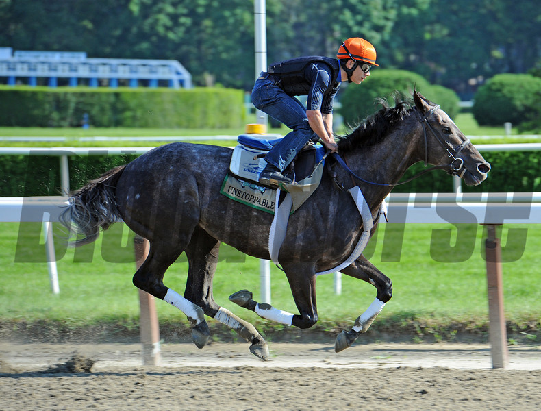 Unstoppable U, works five furlongs in 1:02<br /> Sunday morning at Belmont...<br /> © 2012 Rick Samuels/The Blood-Horse
