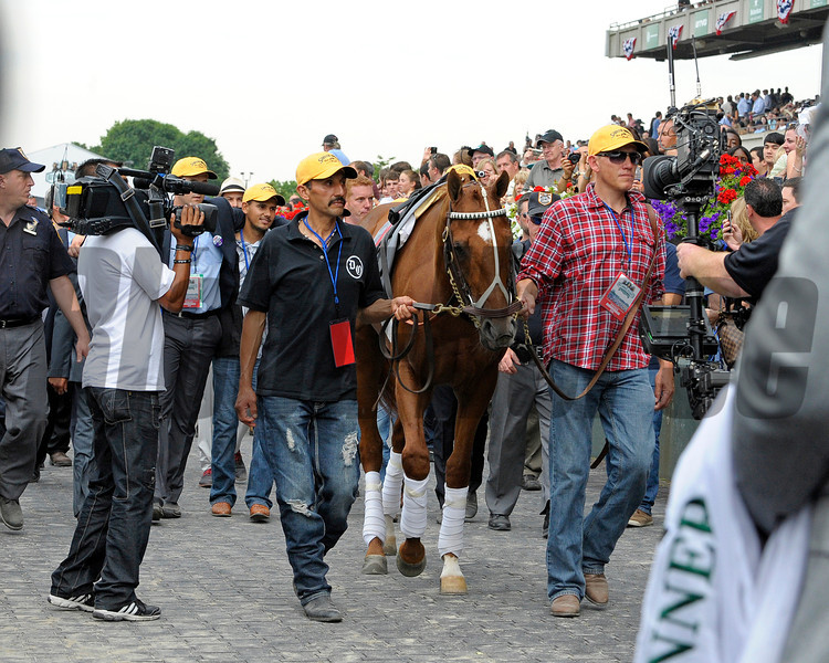 Caption: I'll Have Another is paraded into winner's circle and saddle is ceremoniously removed after Mario Gutierrez come off.<br /> Belmont Park, June 9, 2012, Elmont, N.Y.<br /> Photo by Anne M. Eberhardt