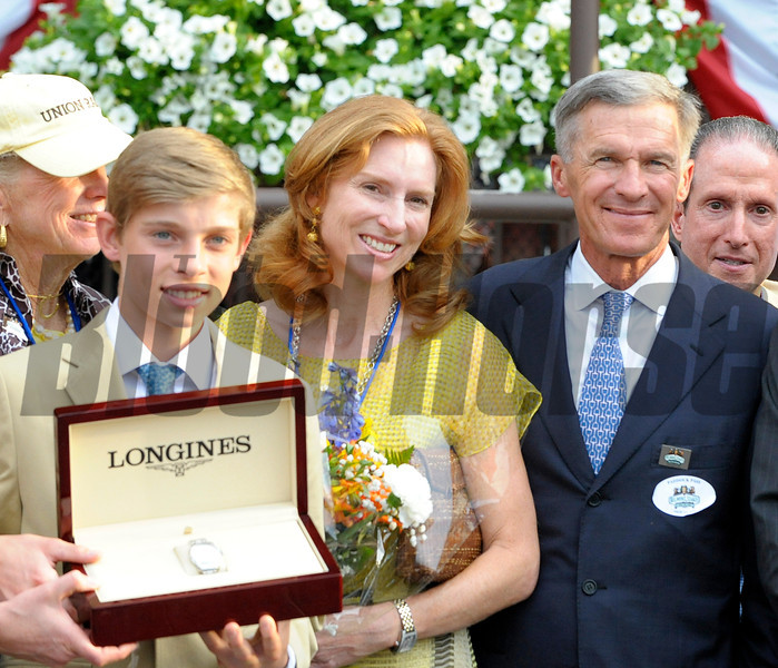 Caption: Trainer Michael Matz and family<br /> Union Rags, on rail, with John Velazquez up wins the Belmont Stakes (gr. I) with Paynter and Mike Smith in second.<br /> Belmont Park, June 9, 2012, Elmont, N.Y.<br /> Photo by Anne M. Eberhardt