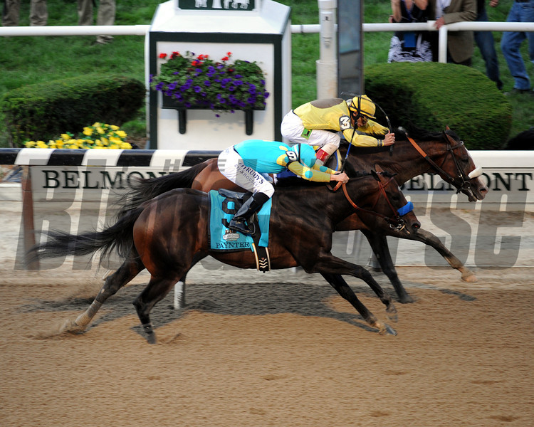 Union Rags w/John Velazquez up beats Paynter w/Mike Smith up to win the 144th Running of the Belmont Stakes at Belmont Park on June 9, 2012.<br /> Photo by Chad Harmon