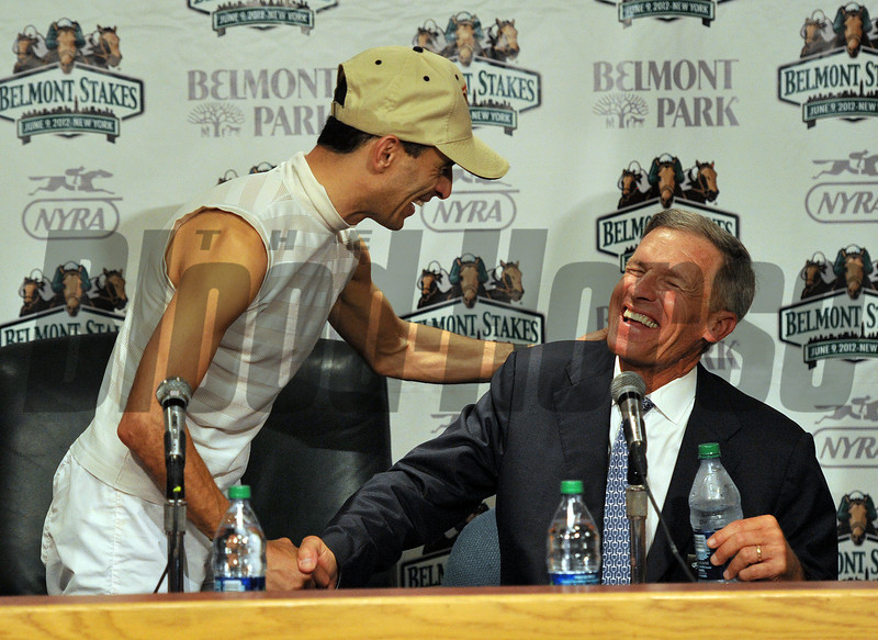 Jockey John Velazquez, and trainer Michael Matz at the post race press conference... <br /> © 2012 Rick Samuels/The Blood-Horse