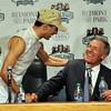 Jockey John Velazquez, and trainer Michael Matz at the post race press conference... <br /> © 2012 Rick Samuels/The Blood-Horse