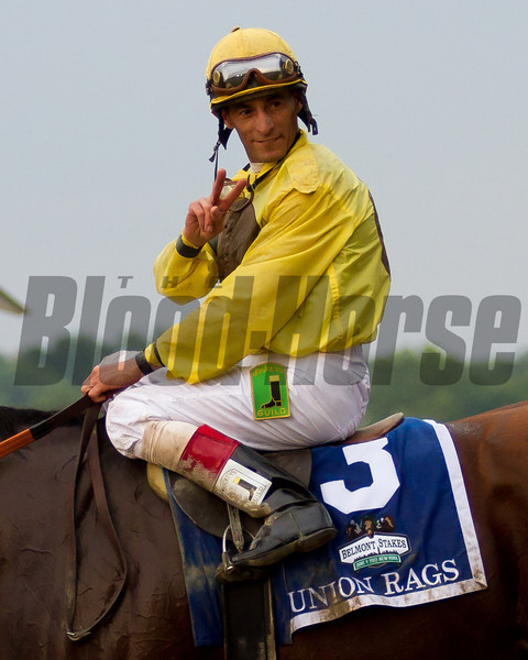 John Velazquez has now won 2 Belmont Stakes.  Belmont Stakes, Belmont Park, 6/9/12.<br /> Photo by Steve Heuertz