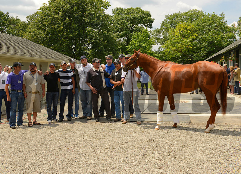 Caption:  Team O'Neil poses with I'll Have Another after the news conference announcing his retirement.<br /> Belmont Park, June 8, 2012, Elmont, N.Y.<br /> Training hours activity on the track and at the barn.<br /> Photo by Anne M. Eberhardt