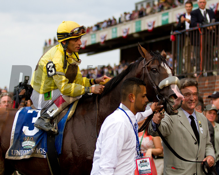 Union Rags in the winner's circle with John Velazquez up.  Belmont Stakes, Belmont Park, 6/9/12.<br /> Photo by Steve Heuertz