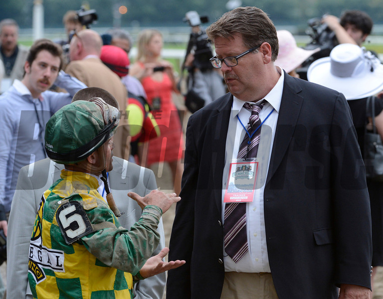 Romans and Castellano after the 2012 Belmont Stakes<br /> Photo by Skip Dickstein
