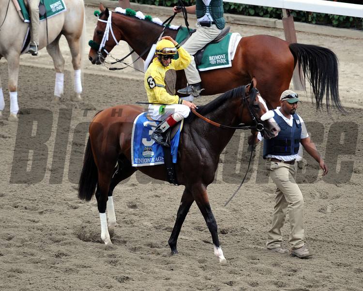 Union Rags w/John Velazquez up head to the starting gate prior to winning the 144th Running of the Belmont Stakes at Belmont Park on June 9, 2012.<br /> Photo by Chad Harmon