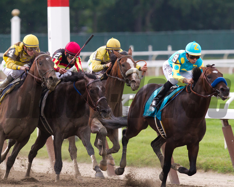 Belmont Stakes field enters the stretch. Paynter with Mike Smith up leads the way as Union Rags bears down on him with John Velazquez up.  Belmont Park, 6/9/12.<br /> Photo by Steve Heuertz