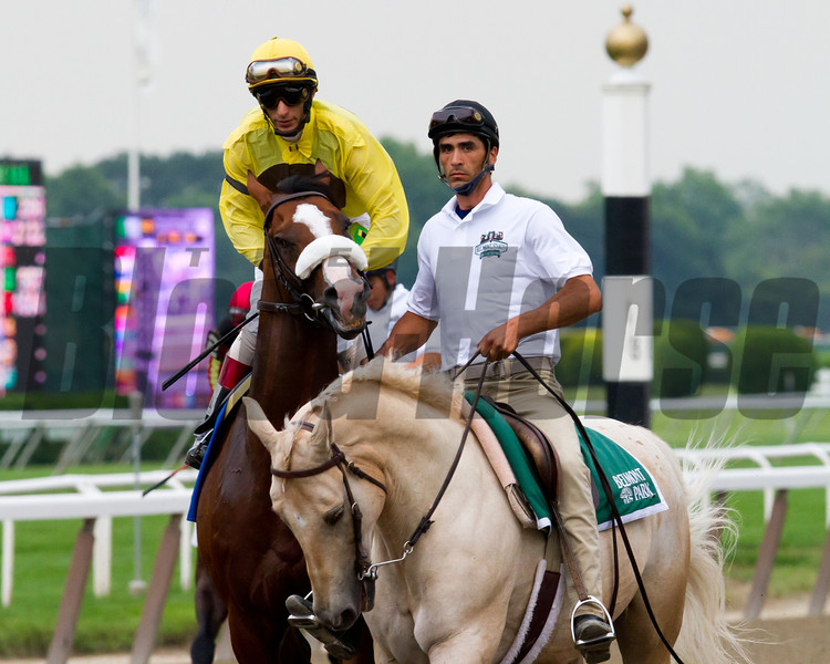 Union Rags warms up before the Belmont Stakes with John Velaquez up.  Belmont Park, 6/9/12.<br /> Photo by Steve Heuertz