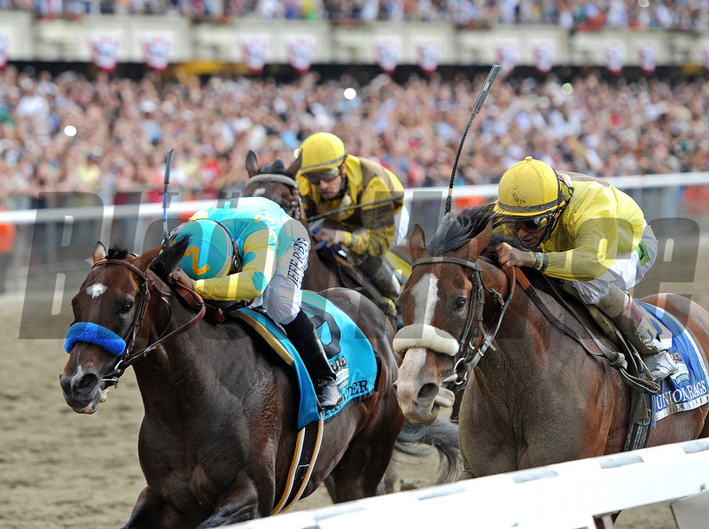 Union Rags (r) John Velazquez up, wins the 144th Gr1 Belmont Stakes over Paynter...<br /> Atigun was third.<br /> © 2012 Rick Samuels/The Blood-Horse