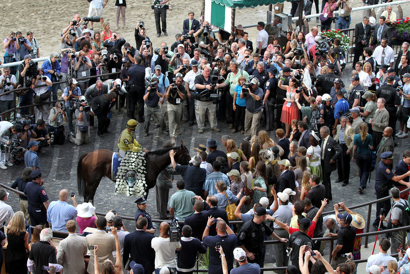 The Belmont Park winners circle after Union Rags won the 144th Running of the Belmont Stakes on June 9, 2012.<br /> Photo by Chad Harmon