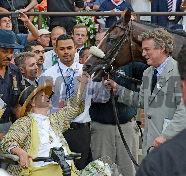 Union Rags gets a tap on the nose from owner Phyllis Wyeth after winning the 144th running of The Belmont Stakes at Belmont Park in Elmont, N.Y. June 9, 2012. <br /> Photo by Skip Dickstein