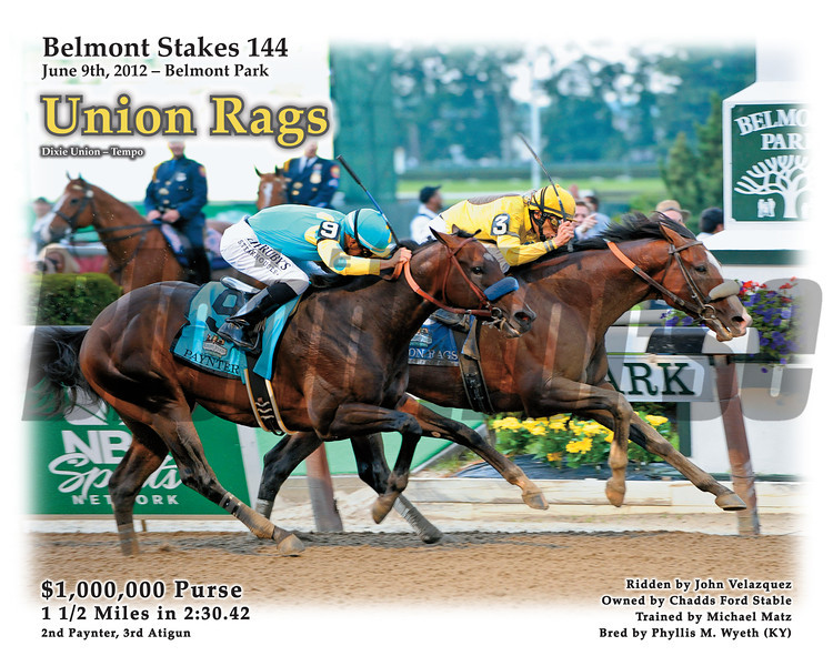 Special Print - Union Rags wins the 2012 Belmont Stakes.<br /> © 2012 The Blood-Horse<br /> Photo by Anne M. Eberhardt