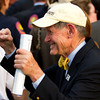 Russell Jones celebrates after Union Rags' victory.  Belmont Stakes, Belmont Park, 6/9/12.<br /> Photo by Steve Heuertz