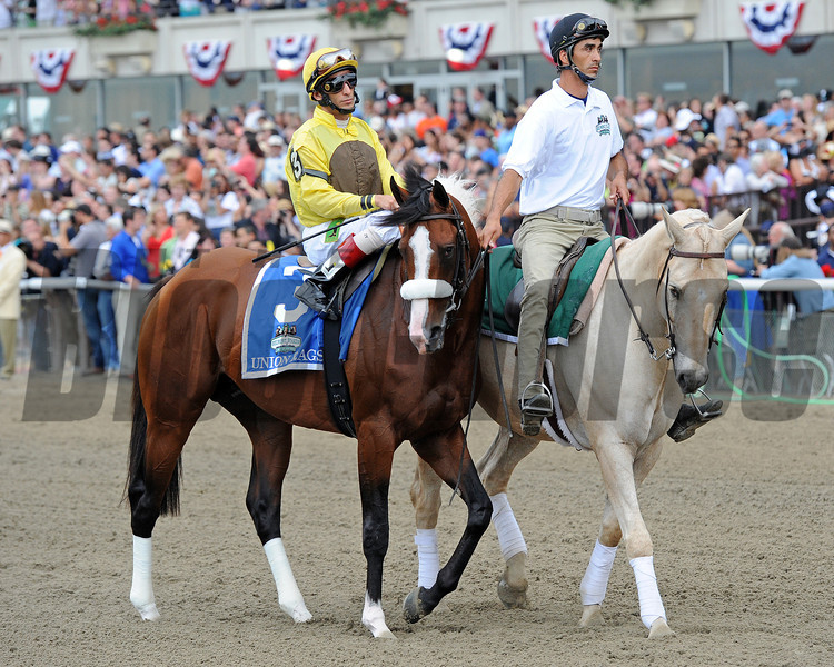Union Rags w/John Velazquez up head to the starting gate prior to winning the 144th Running of the Belmont Stakes at Belmont Park on June 9, 2012.<br /> © 2012 Rick Samuels/The Blood-Horse