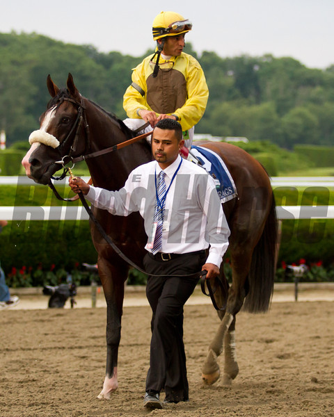 Union Rags heads to the winner's circle with John Velazquez up.  Belmont Stakes, Belmont Park, 6/9/12.<br /> Photo by Steve Heuertz