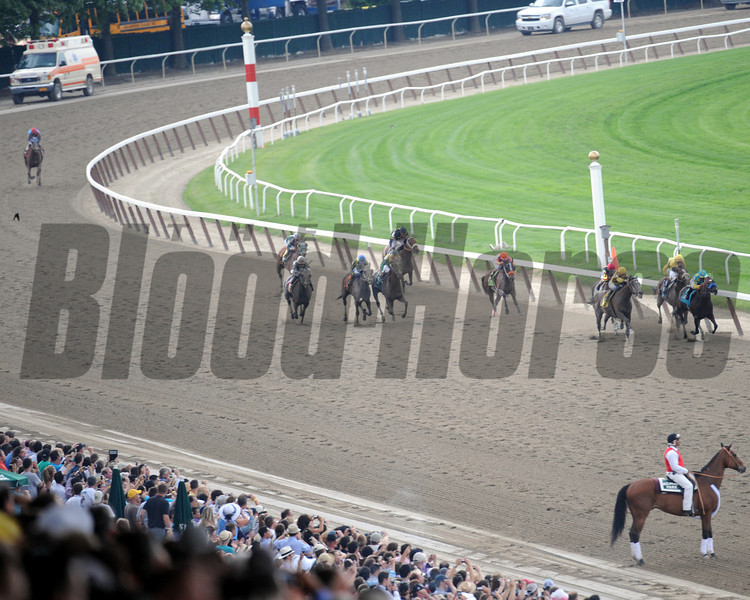 The field enters the stretch during the 144th Running of the Belmont Stakes at Belmont Park on June 9, 2012.<br /> Photo by Chad Harmon