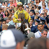 Caption: The walkin: Union Rags with John Velazquez up after winning the Belmont Stakes (gr. I) with Paynter and Mike Smith in second.<br /> Belmont Park, June 9, 2012, Elmont, N.Y.<br /> Photo by Anne M. Eberhardt