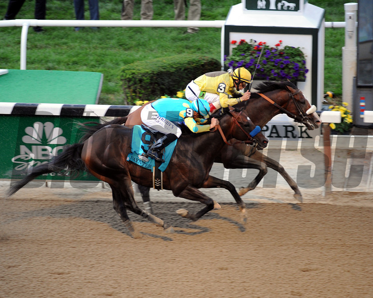 Union Rags w/.John Velazquez up win the 144th Running of the Belmont Stakes at Belmont Park on June 9, 2012 over Paynter w/Mike Smith up.<br /> Photo by Chad Harmon