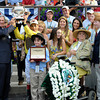 Caption: Trophy Pres: Michael Matz, John Velasques, Phyllis Wyeth<br /> Union Rags with John Velazquez wins the Belmont Stakes (gr. I).<br /> Belmont Park, June 9, 2012, Elmont, N.Y.<br /> Photo by Anne M. Eberhardt