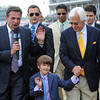 Bode Baffert waves to his fans while Kenny rice interviews Bode's dad...<br /> © 2012 Rick Samuels/The Blood-Horse
