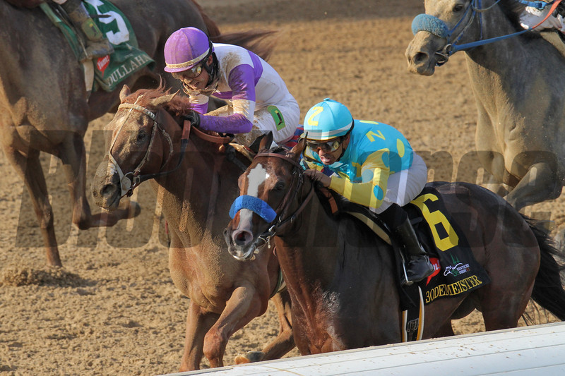 I'll Have Another catches up with Bodemeister.<br /> Photo by Crawford Ifland.