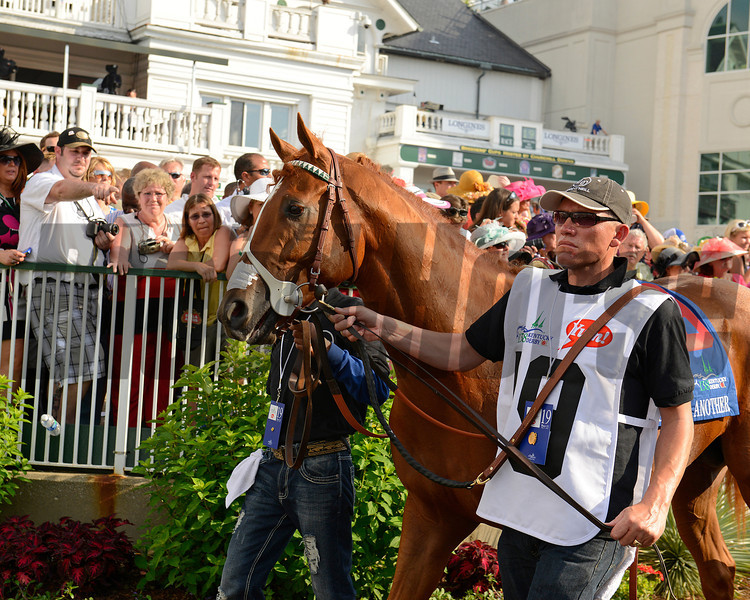 Caption:  I'll Have Another in the paddock<br /> I'll Have Another with Mario Gutierrez up wins the Kentucky Derby presented by Yum<br /> at Churchill Downs near Louisville, Ky. on May 5, 2012.<br /> DErby3  image730<br /> PHoto by Anne M. Eberhardt