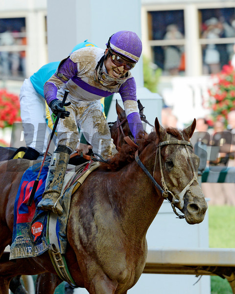 I'll Have Another with jockey Mario Gutierrez up, left out  duels Bodemeister with jockey Mike Smith to the win in the 138th running of the Kentucky Derby in Louisville, KY May 5, 2012.<br /> Photo by Skip Dickstein.