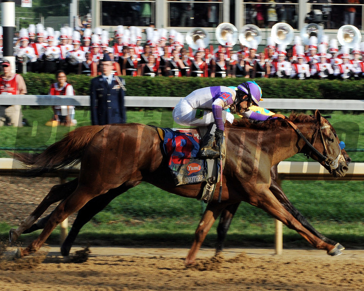 I'll Have Another passes Bodemeister.<br /> Photo by Dave Harmon.