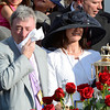 Owner J. Paul Reddam, left wipes the sweat from his face after his horse I'll Have Another won  the 138th running of the Kentucky Derby in Louisville, KY May 5, 2012.<br /> Photo by Skip Dickstein.