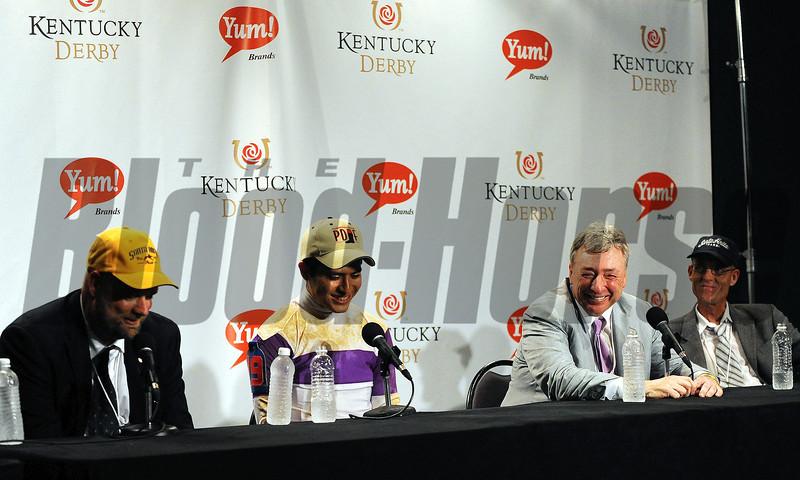 Doug O'Neill, Mario Gutierrez, Paul Reddam - press conference<br /> Photo by Dave Harmon.