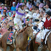 Jockey Mario Gutierrez stands up on I'll Have Another after wining  the 138th running of the Kentucky Derby in Louisville, KY May 5, 2012 <br /> Photo by: Skip Dickstein