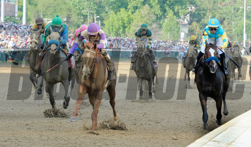 I'll Have Another with jockey Mario Gutierrez up, left out  dueled Bodemeister with jockey Mike Smith to the win in the 138th running of the Kentucky Derby in Louisville, KY May 5, 2012.  <br /> Photo by: Skip Dickstein
