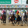 Start of the Kentucky Derby...<br /> Eventual winner I'll Have Another is 3rd from the left with the blue cap.<br /> © 2012 Rick Samuels/The Blood-Horse