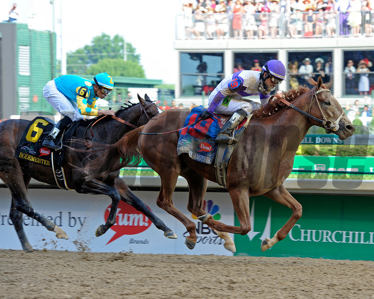 Caption:  <br /> I'll Have Another with Mario Gutierrez up wins the Kentucky Derby presented by Yum<br /> at Churchill Downs near Louisville, Ky. on May 5, 2012.<br /> DErby1  image896<br /> PHoto by Anne M. Eberhardt