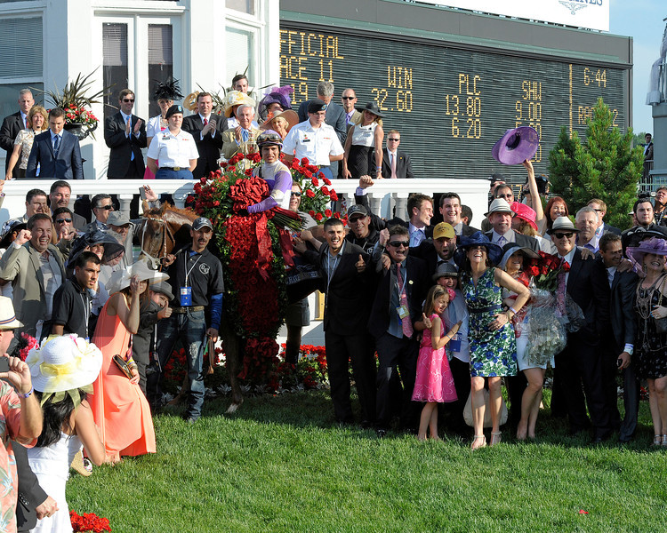 I'll Have Another in the winners circle<br /> I'll Have Another with Mario Gutierrez up wins the Kentucky Derby presented by Yum<br /> at Churchill Downs near Louisville, Ky. on May 5, 2012.<br /> Photo by Anne M. Eberhardt