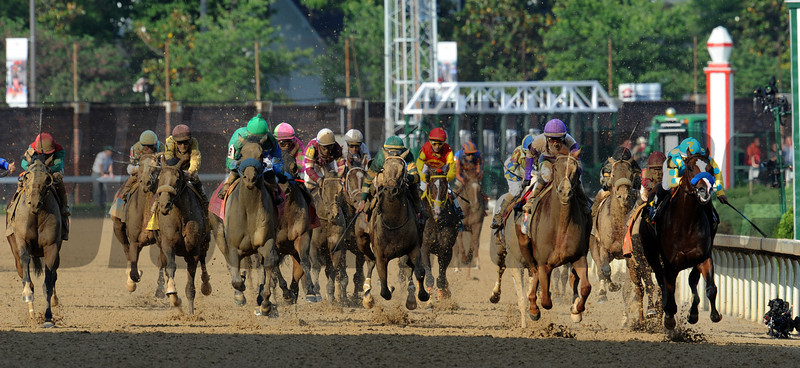 I'll Have Another (blue cap) and Bodemeister (rail) battle it out to the wire...<br /> © 2012 Rick Samuels/The Blood-Horse