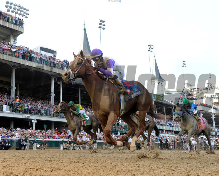 I'll Have Another with jockey Mario Gutierrez up, left out  dueled Bodemeister with jockey Mike Smith to the win in the 138th running of the Kentucky Derby in Louisville, KY May 5, 2012.<br /> Photo by Skip Dickstein.
