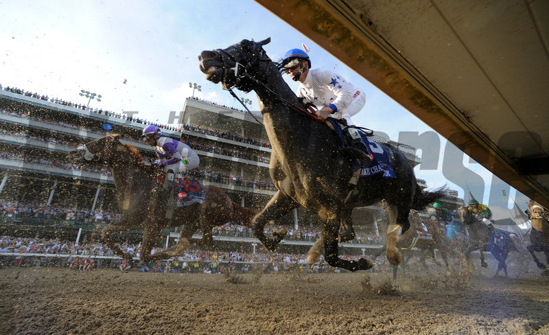 I'll Have Another with jockey Mario Gutierrez up, left out  dueled Bodemeister with jockey Mike Smith to the win in the 138th running of the Kentucky Derby in Louisville, KY May 5, 2012. <br /> Photo by Skip Dickstein.