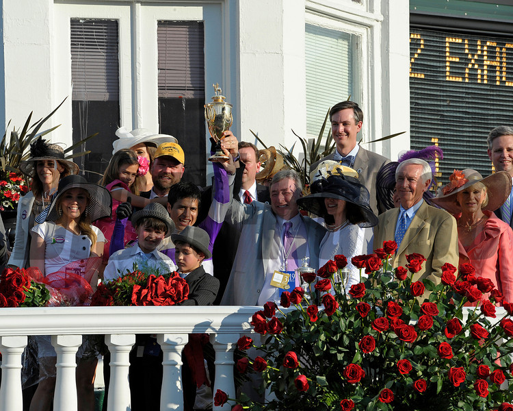 Doug O'Neill (yellow cap), Mario Gutierrez jockey, Paul and Zilla Reddam owners, and Gov. Steve and Jane Beshear<br /> I'll Have Another with Mario Gutierrez up wins the Kentucky Derby presented by Yum<br /> at Churchill Downs near Louisville, Ky. on May 5, 2012.<br /> Photo by Anne M. Eberhardt